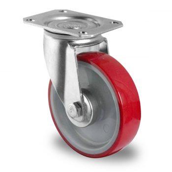 Lenkrolle, Ø100 PA/PU grau/rot, Kugellager – SPP21WC100N2U6B32