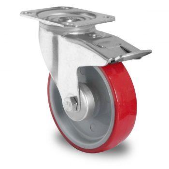 Lenkrolle mit Feststeller, Ø100 PA/PU grau/rot, Kugellager – TPP21WC100N2U6B32